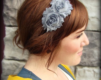 Headband for Women, Shabby Flower Headband in Charcoal Grey