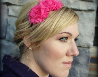 Adult Headband in Hot Pink, Shabby Chic Flower for Girls and Women