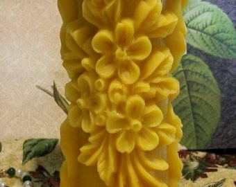 Beeswax Raised Flower Design Pillar Candle