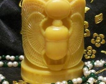 Beeswax Scarab Beetle Pillar Candle