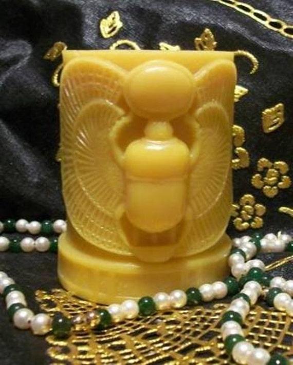 Beeswax Scarab Beetle Pillar Candle