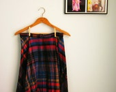 plaid tweed skirt long pleats in dramatic COLORS yellow blue purple red  size m - l