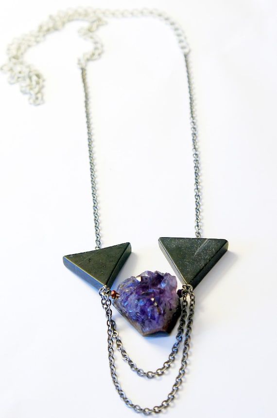 50 percent off Black Stone & Amethyst Necklace Mixed Chain OOAK