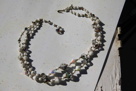 SALE Vintage Crystal and Iridescent Milkglass Necklace double strand