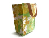 Reusable Lunch Bag- Vintage Fabric- Green, Gold, Orange, Floral Swirl Pattern