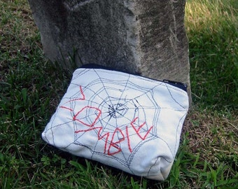 Zombie - Zipper Pouch - Hand Embroidered and Machine Stitched Spider Web - Limited Edition - Halloween Bag - One of a Kind Spider Web Purse