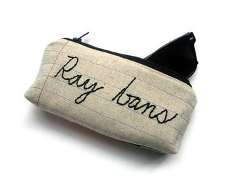 Eyeglass Case - Ray Bans - Hand Embroidered - Sunglasses Case - Handmade Zipper Pouch - Glasses Holder