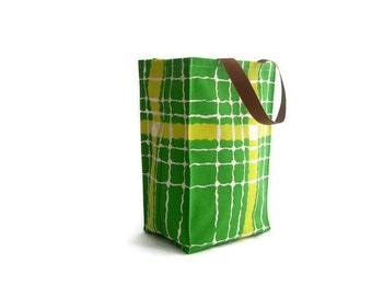 Reusable Vintage Fabric Lunch Bag - Geometric - Green and Yellow Stripes - Lemon Lime - Handmade Lunch Container