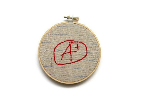 Graduation Gift - A Plus - Four Inch Embroidery Hoop Wall Art - Machine Stitched and Hand Embroidered - Notebook Paper Fabric