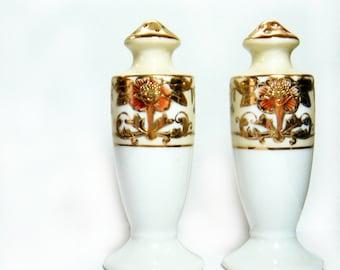 Antique 1910s Noritake Salt and Pepper Shakers - Raised Gold Pattern - Japan - Ivory White Gold  Orange Blue - 42200 pattern