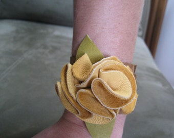 Golden Yellow Leather Flower Cuff Bracelet
