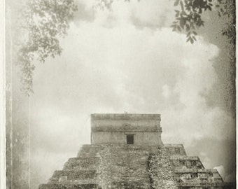 Chichen Itza Black and White Photography Mayan Ruins Mexico 8x12