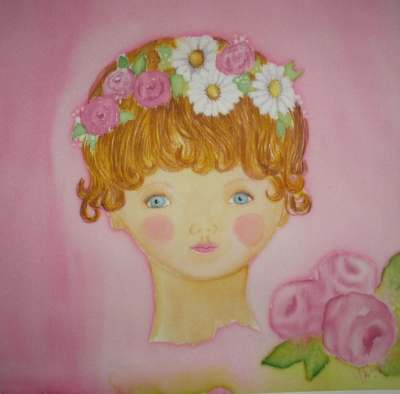 Girly Girl Quilt Block Hand Painted on Silk Charmeuse Pretty in Pink