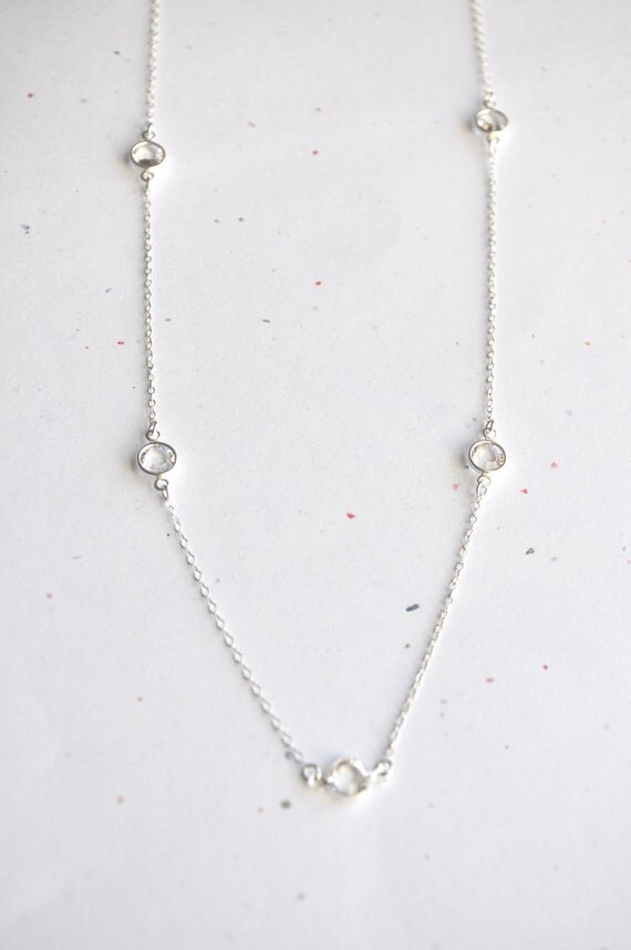 Long Pebble Necklace - clear swarovski crystal sterling silver round link - simple everyday jewelry - adenandclaire