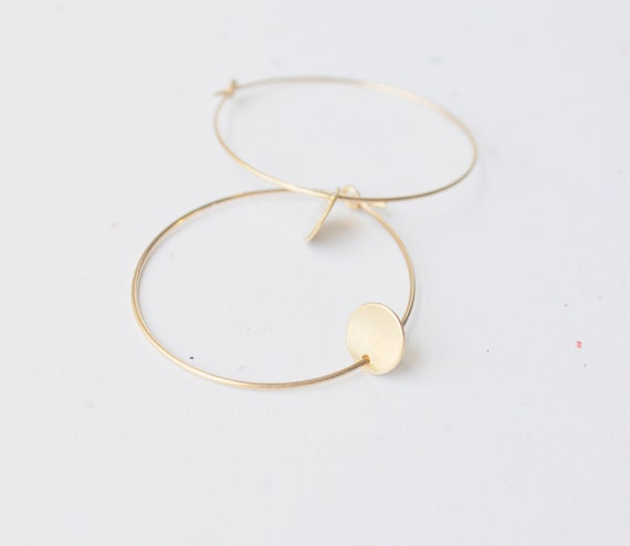 Gold Dot Hoop Earrings - gold filled small circle round disc charm modern minimal sweet gift - simple everyday jewelry - adenandclaire