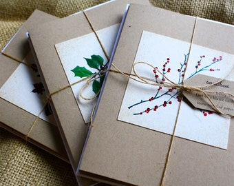 Winter Berries Series Watercolors Set of 3 Greeting Cards, Recycled Papers