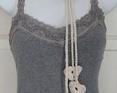 Crochet Heart Lariat Necklace