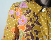 1960's AUTUMN SMOCK DRESS in Mustard Yellow Floral Vintage Tunic / Woodland / Fall 2012 in Orange and Green