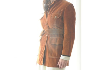 Suede Coat FREE SHIPPING 1970's Suede Jacket by Irving Posluns Size 12/13