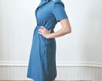 DRESS SALE Blue Striped Dress / Teal Pin Stripe Secretary Dress Size 10