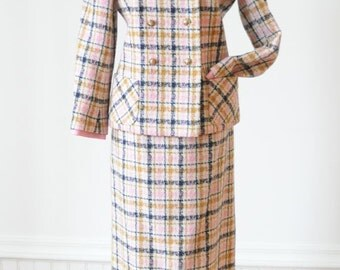 Sale 60's PLAID JACKET & SKIRT Two Piece Wool Suit in Pink and Mustard Yellow for Spring