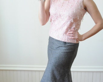 Black Friday Sale 1950's Pink SEQUIN & BEADED TOP / Glass Beaded Blouse Size Medium for Spring 2013
