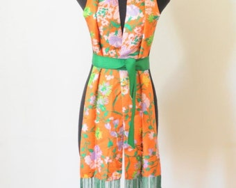 SALE FRINGE SCARF in Orange Floral Print / Asian Inspired / Sash / Belt