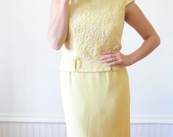 SALE 1960's YELLOW DRESS Crepe Dress / Two Piece Wiggle Dress / Embroidered Gown by Rene Original