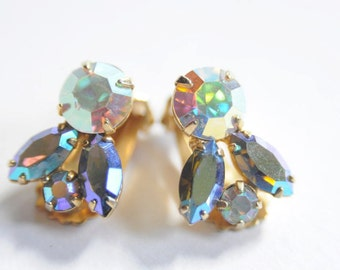 50's SALE RHINESTONE EARRINGS in Blue and Green Crystal Earrings Old Hollywood Glamour