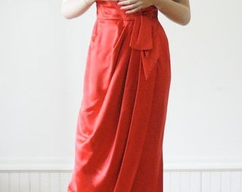 DRESS SALE 1950's RED Satin Gown Red Dress Hollywood in Lipstick Red Glamorous / Red Carpet / Old Hollywood Glamor
