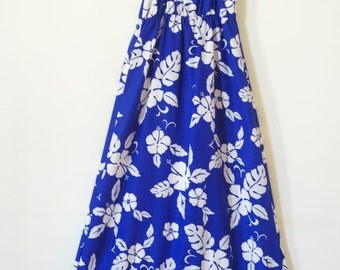 SALE...Vintage FLORAL HAWAIIAN Dress in Cobalt Blue and White Maxi Dress / Goddess Dress / Gown / Wedding Dress  SIze Small