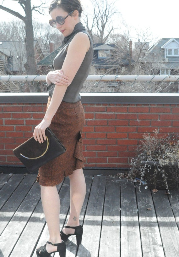 1960's BROWN & GOLD PURSE Vintage Clutch Combo with Suede and Gold