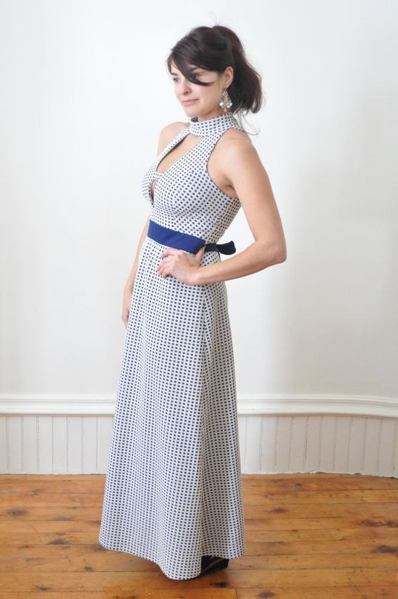 Reserved...1970's VINTAGE HALTER DRESS in Navy Blue and White Maxi Dress /  Vintage Gown Size Medium