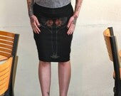 Abstract PoppyHand Screen Printed Women's Jersey Pencil Skirt or Tube Top.