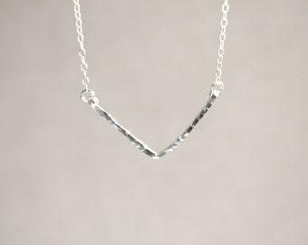 Sterling Silver V Necklace - Hammered - Hand Forged