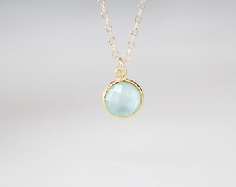 Gold Framed Glass Pendant Necklace - Seafoam - Arial - LAST ONE - SALE