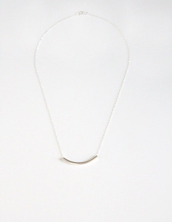 Curved Bar Necklace - Sterling Silver Tube - Estelle
