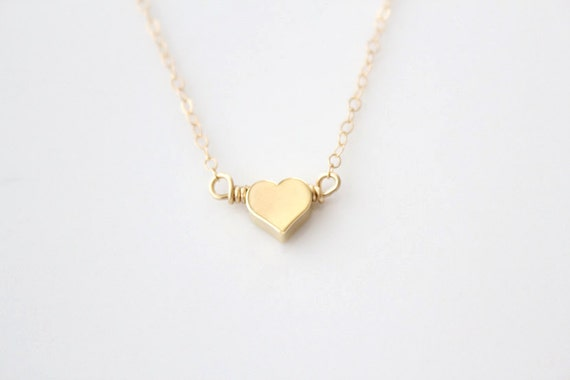Heart Necklace - Tiny Gold or Silver Puffy Heart - Amore - SALE