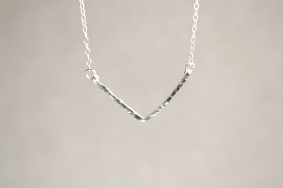 Sterling Silver V Necklace - Hammered - Hand Forged