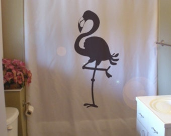 flamingo Shower Curtain bird stand on one leg in soda lake bathroom decor kids bath curtains custom size long wide waterproof