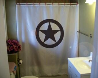texas sheriff badge shower curtain star circle lone star state Texan republic Wild West USA bathroom bath curtains custom size long wide
