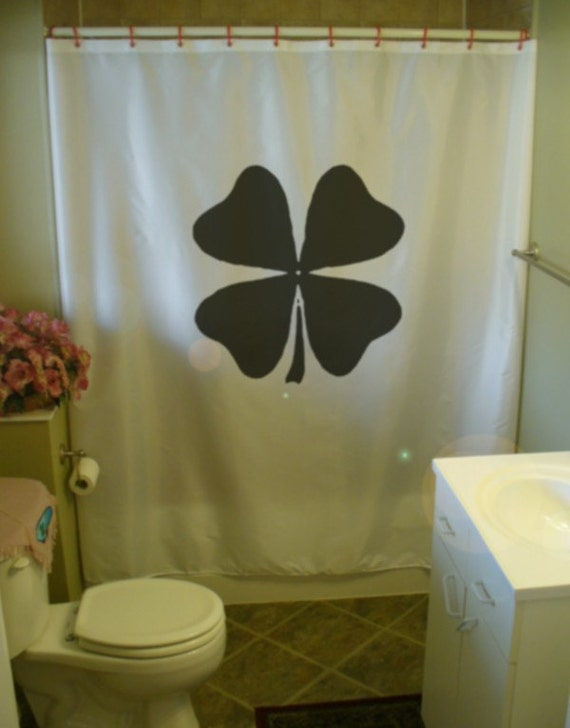 Irish four leaf clover shower curtain luck ireland by for Bathroom accessories online ireland