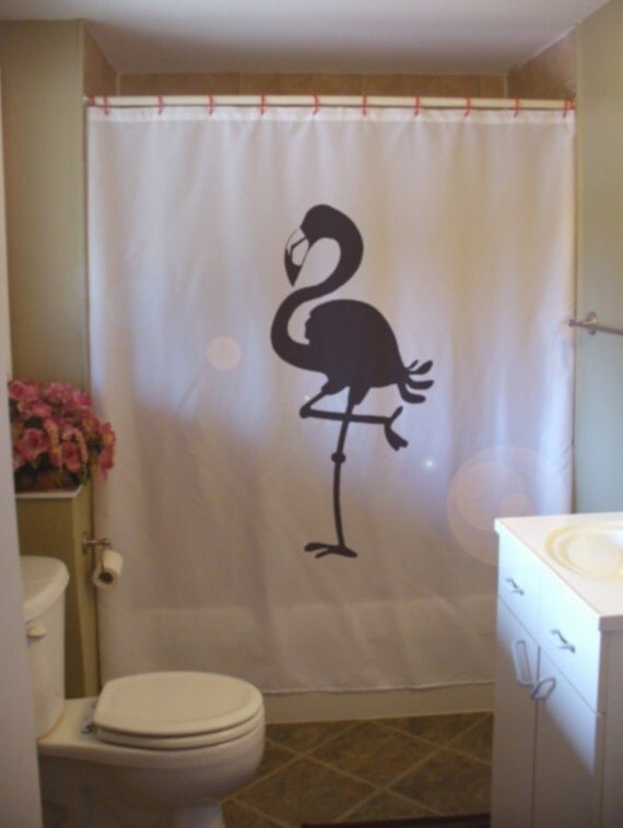 flamingo shower curtain bird stand on one leg in soda lake. Black Bedroom Furniture Sets. Home Design Ideas