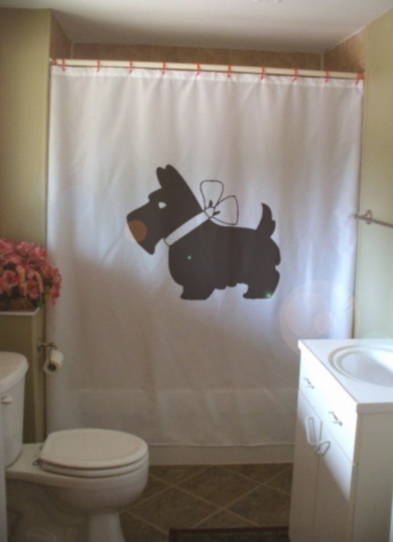 scottie dog bow shower curtain scottish terrier breed ribbon collar pup bathroom decor kids bath curtains custom size long wide waterproof