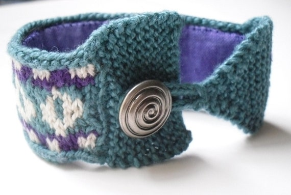 Knitted Cuff Bracelet - Handknit Jewelry for a Unique Fashion Accessory - Teal and Purple