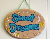 Hand Painted SWEET DREAMS Sign - nursery decor - kids room - blue and yellow - baby - kids room decor - Ready to Ship