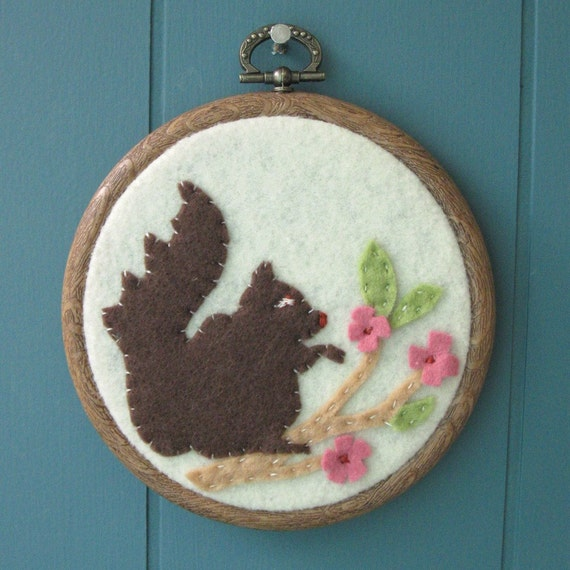 Squirrel and Cherry Blossoms Embroidery Hoop Art  - woodland - felt - forest - brown and green - nature art - nursery art