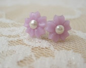 Vintage Lilac Flower And Pearl Stud Earrings