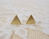 Tiny Brass Gold Triangle Stud Earrings - CLEARANCE SALE!