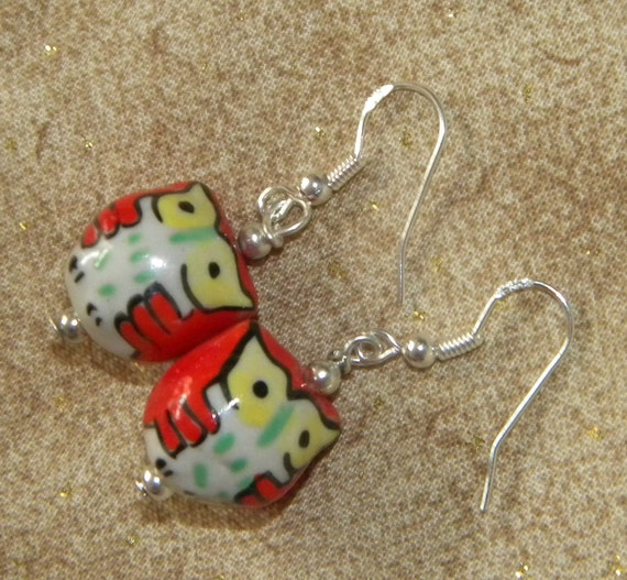 Pair of Silver Red Hoot Owl Ceramic Earrings